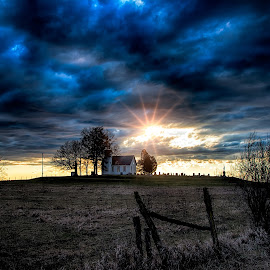 I See the Light by Scott Bryan - Landscapes Sunsets & Sunrises ( countryside, ohio, church, sunset, landscape, light, rural )