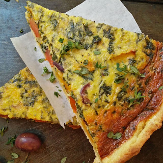 Roast Butternut and Spinach Quiche with olives.