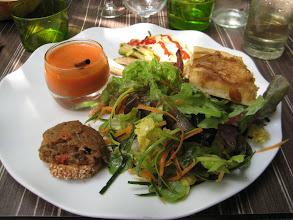 Photo: Pat's salad with crostini, gaspacho and focaccio bread.