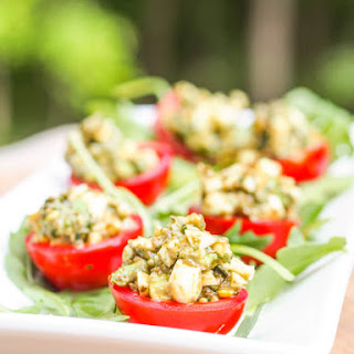 Avocado Pesto Stuffed Tomatoes {Gluten-Free, Dairy-Free}.