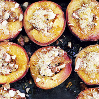 Honey Baked Peaches with Praline and Mascarpone