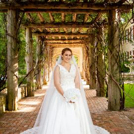 Long Veil Bridal 2 by Matthew Chambers - Wedding Bride ( bride, dress, bridal, veil, white dress, hall, curvy, portrait, posed, thin, beautiful, classic, white, portraits of women, vines, wedding, portraiture )