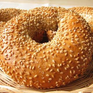 Bread Machine Garlic Bagels.