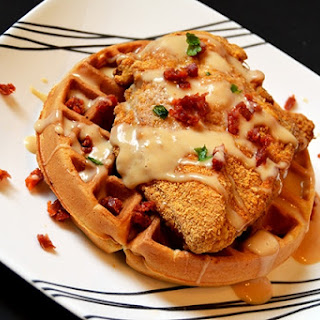 Chicken Waffle with Maple Sriracha Aïoli.