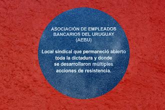 Photo: Marcas de la Memoria (20) Sede sindical de Aebu (Asociación Empleados Bancarios). Camacuá 575 esq. Brecha. Placa conmemorativa.