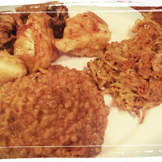 Tarka Dahl, Vegetable Pakora and Onion Bhaji