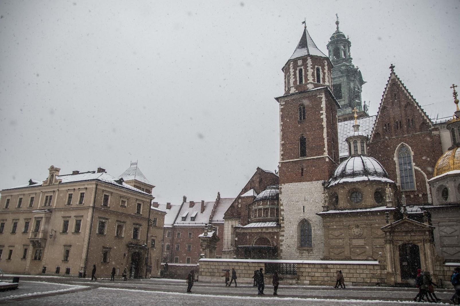 wilanov square cathedral in winter