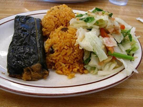 From Left To Right: Pasteles, Arroz Con Gandules (rice With Pigeon Peas) And Bacalao Salado (salt Cod Salad). Photo Courtesy Of Richard R. Mahalo!!)