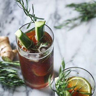 Pimm'S Cup Cocktail with Fresh Ginger, Lime and Tarragon Recipe