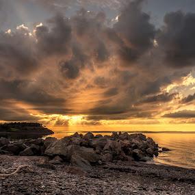 Golden Glow by Rita Taylor - Landscapes Sunsets & Sunrises ( sunset, ocean, beach, storm, rocks,  )