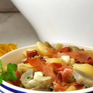 Pasta Salad with Artichokes Hearts, Fresh Mozzarella and Speck.