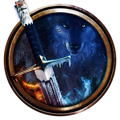 Game of Ice and Fire Theme: Wolf & Sword wallpaper