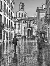 Photo: Reflections after the rain Here is a b&w version of a photo I posted earlier (https://plus.google.com/106031648912799473605/posts/ekcTfEsvGwN), showing a street in Salamanca, Spain, right after a morning rain squall. I like both versions... which do you prefer?