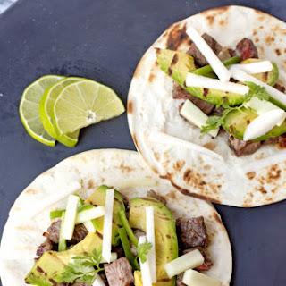 Steak Tacos with Cucumber-Jicama Salsa