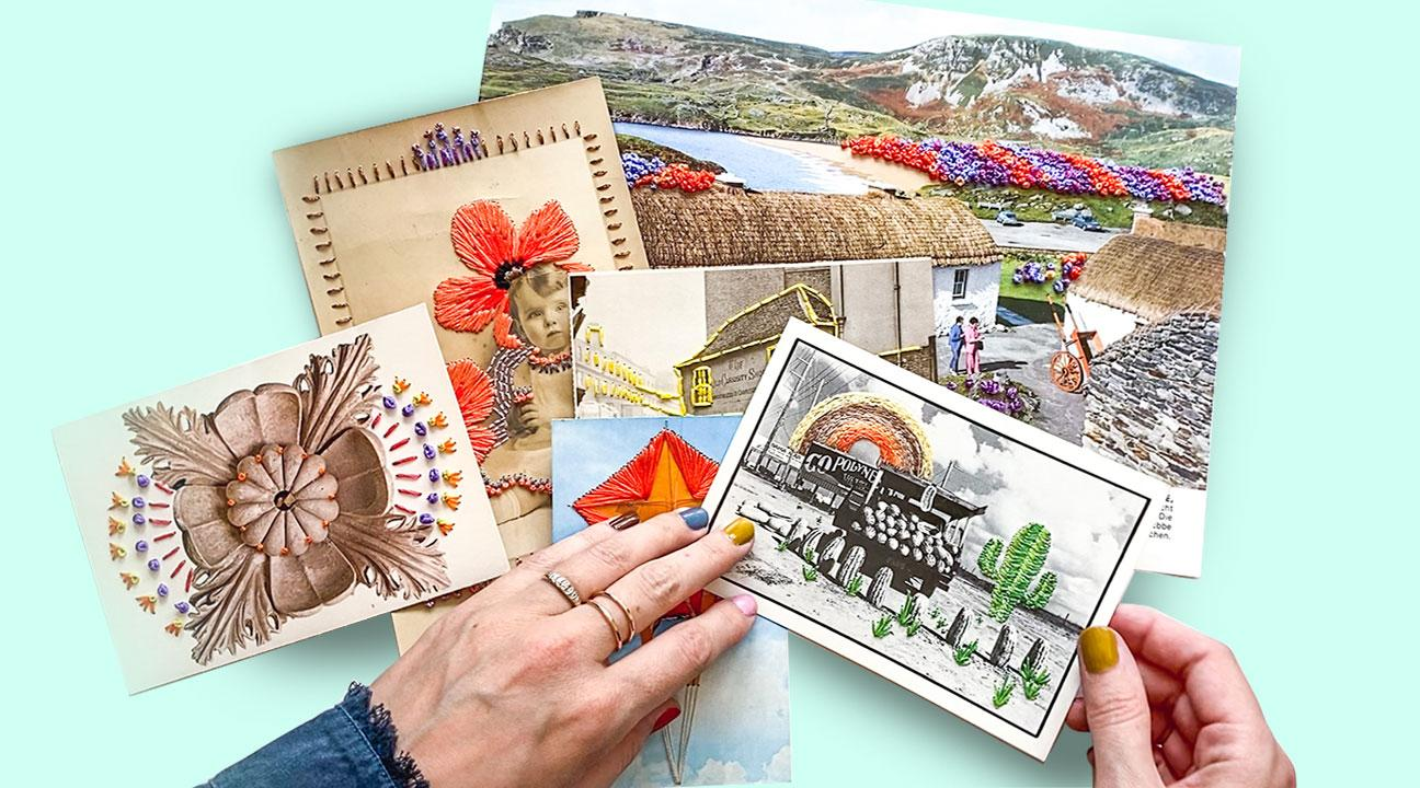 embroidered post cards