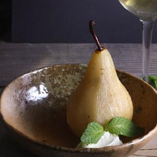 White Wine Poached Pears with Lemon Mascarpone.