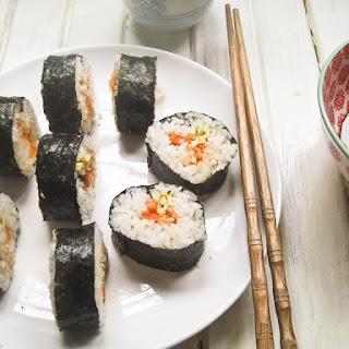 Tuna and Kimchi Kimbap (Korean Rice Rolls) - 김밥