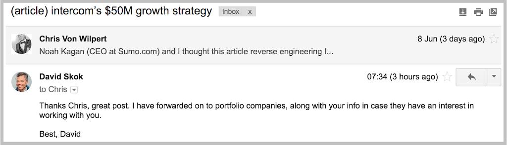 Email to David Skok