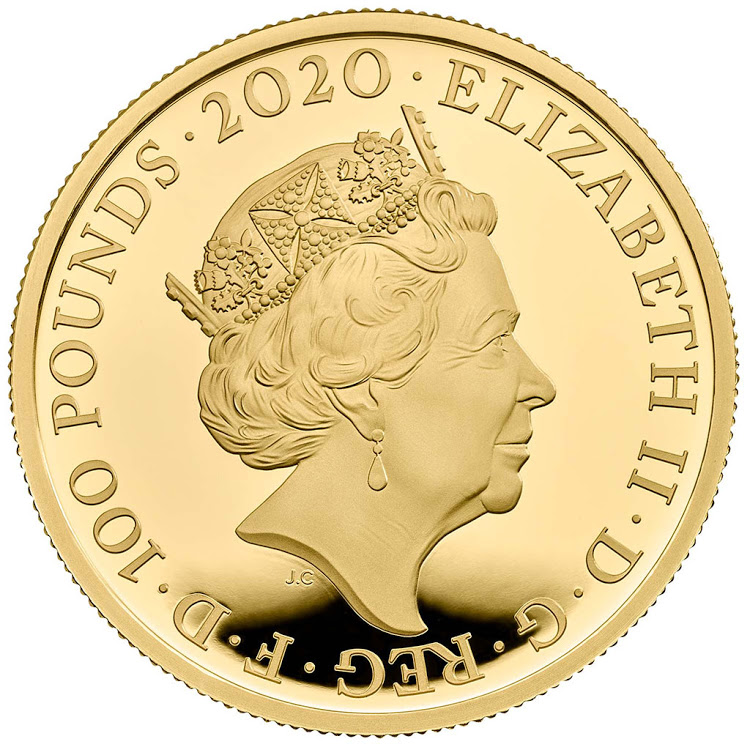The back of a coin dedicated to Britain's Queen Elizabeth II.