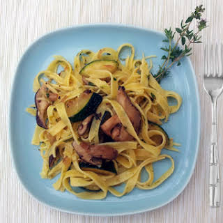 Tagliatelle with Courgettes, Shiitake Mushrooms and Tarragon Butter [vegetarian].