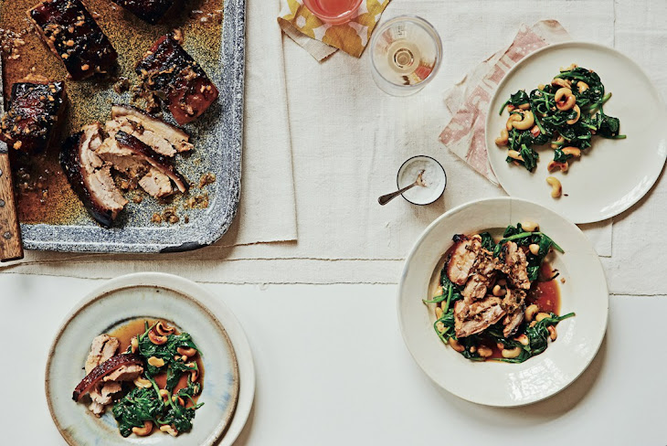 Pork Belly with Cashews and Spinach Recipe