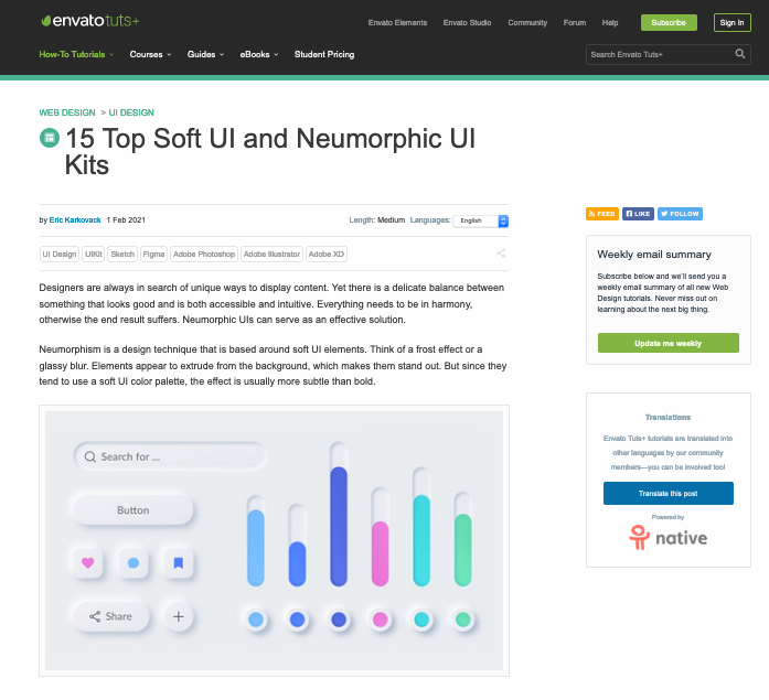 Article page on 15 top soft UI and neumorphic UI kits