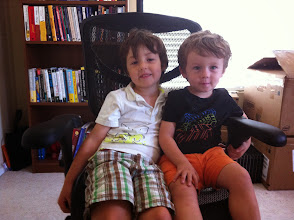 Photo: Two Boys in Daddy's Chair