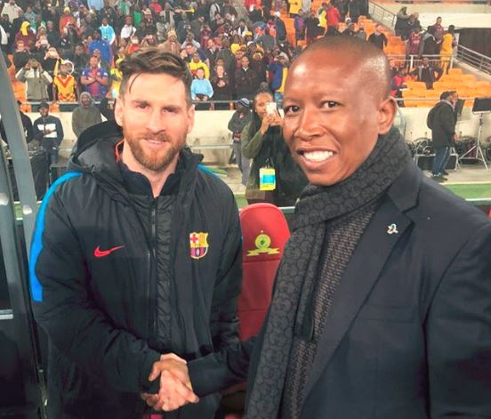 EFF CIC Julius Malema got a pic with Barcelona player Leo Messi.