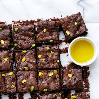 Olive Oil & Pistachio Brownies.
