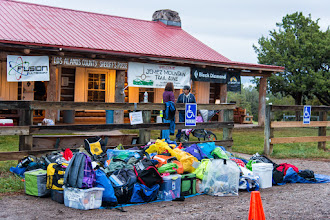 Photo: Pile of drop bags in front of the Los Alamos Posse Shack; Jemez Mountains Trail Run, May 2014