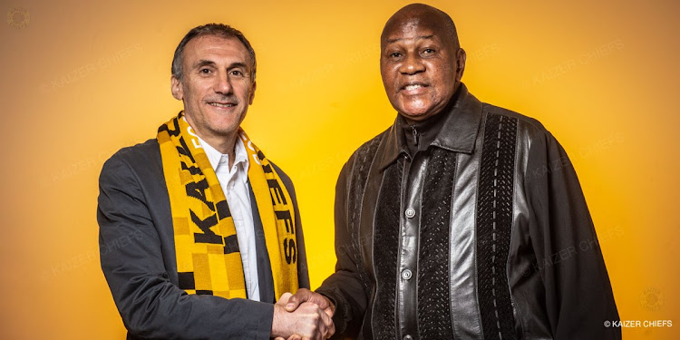 Kaizer Chiefs new coach Giovanni Solinas and the club's chairman Kaizer Motaung.