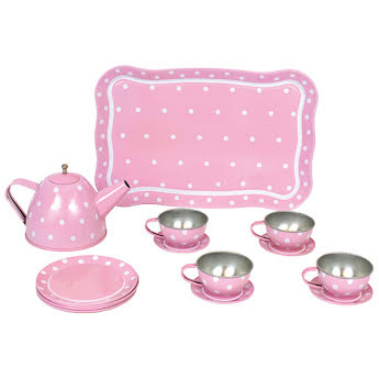Tin tea set with case pink
