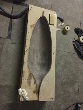 Photo: Wheel pant mold sanded down to 80 grit.
