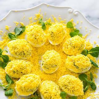 Eggs Mimosa with Artichoke Tapenade.