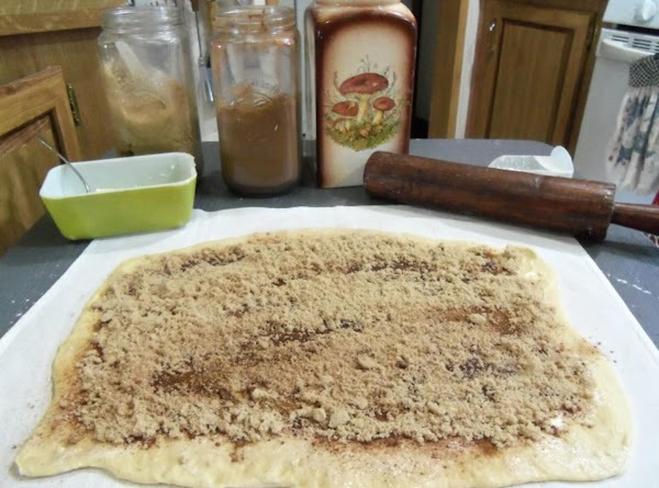 Now spread about 1 1/4 cup brown sugar per rectangle.