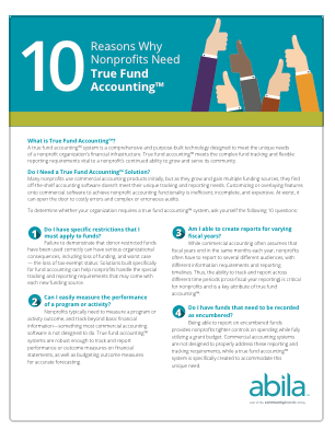 '10 Reasons Why Nonprofits Need True Fund Accounting