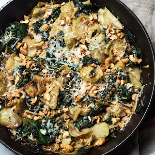 Creamed Kohlrabi and Spinach.