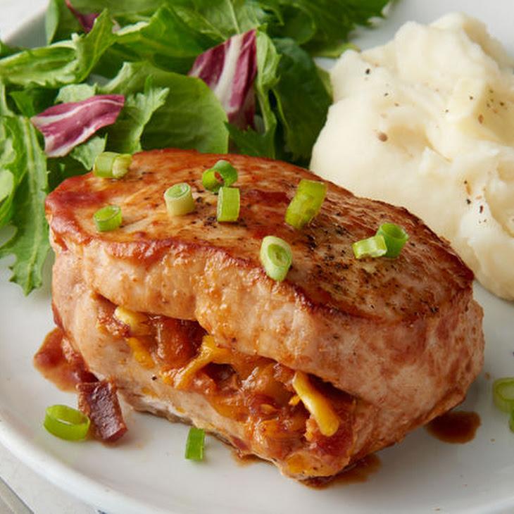 BBQ Bacon Cheddar-Stuffed Pork Chops