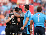 Pete Samu of the Crusaders (6) celebrates with a try teammates during the 2017 Super Rugby match between Bulls and Crusaders at Loftus Versveld Stadium in Pretoria, South Africa on 06 May 2017. ©Muzi Ntombela/BackpagePix