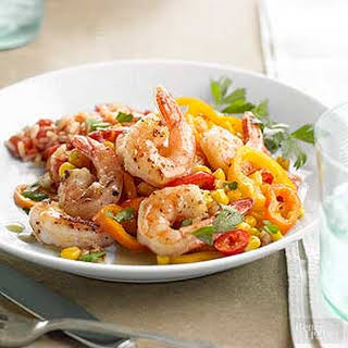 Shrimp with Peppers & Corn.