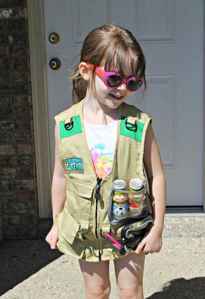 Let kids dress up in a safari vest, hat, binoculars, etc. and head out on a backyard safari
