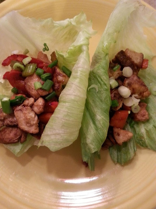 sprinkle with remaining green onion, fill lettuce leaves, eat & ENJOY!