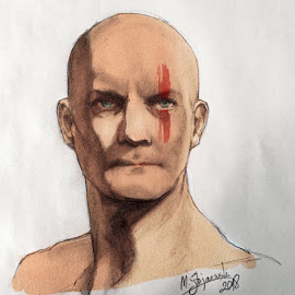The Bald Warrior by Mihajlo Stojanovski - Drawing All Drawing ( battle, art, for sale, art for sale, warrior, print for sale, drawing of a warrior, buy art, warrior for sale, portrait for sale )