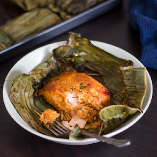 Grilled Red Curry Salmon in Banana Leaves.