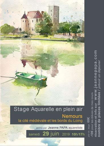 stage aquarelle  Nemours historique Jeanne PAPA 29  juin 2019