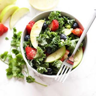Apple and Berry Chopped Kale Salad with Citrus Basil Vinaigrette.