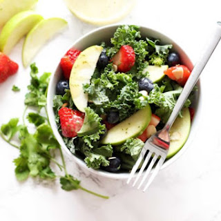 Apple and Berry Chopped Kale Salad with Citrus Basil Vinaigrette.