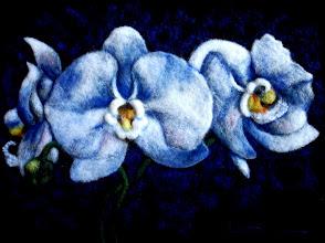 Photo: 203, Нетронина Наталья, Цветы-Орхидеи , Шерстяные, акриловые, вискозные волокна(сухое валяние шерсти), 40х30см,
