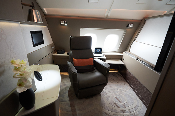 The features of a suite of a Singapore Airlines Ltd. Airbus SE A380 aircraft with refitted cabins.