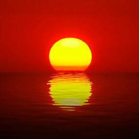 Egg Yolk Sunset by Jenny Zhang - Landscapes Sunsets & Sunrises ( ray, reflection, bright, ocean, lombok, beauty, beach, travel, yellow, landscape, sun, coast, sky, nature, indonesia, sunshine, gold, evening, light, water, clouds, orange, peaceful, beautiful, wallpaper, horizon, sea, scenic, sunlight, morning, burning, dusk, vacation, red, dawn, blue, color, sunset, outdoor, background, summer, sunrise, golden )